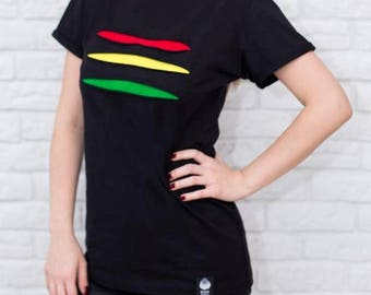 Rasta #torn T-shirt