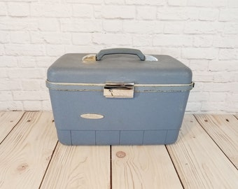 Vintage Blue Forecast Train Case Cosmetics Case