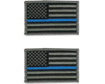 Thin Blue Line Police Law Enforcement Flag Embroidered Iron On Patch - 2 Piece Pack