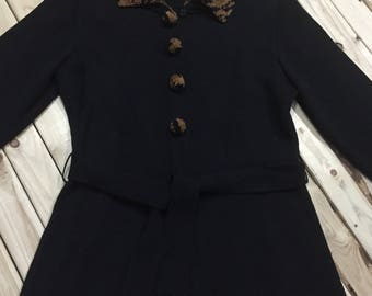 Long Belted Cardigan with Leopard Trim