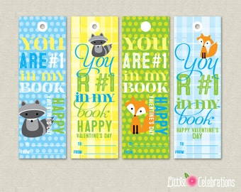 Print-Your-Own Instant Download Blue Yellow Green Woodland Valentine's Day Bookmarks from Little Celebrations