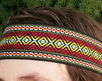 Large Men's hippie headband Native American Aztec Tribal Inspired 2 inches wide 70s Pendleton vintage look Bohemian style for Burning Man