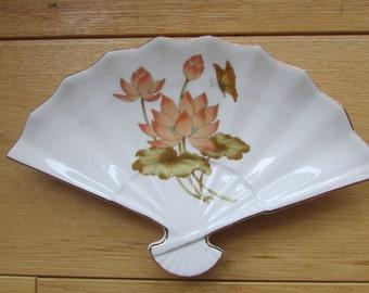 Japan Porcelain Fan Candy Dish Catch All