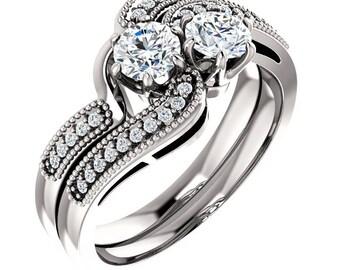 TWO STONE Engagement Ring  Forever Brilliant Moissanite  In 14K White Gold  Engagement Ring Set,Bridal Ring Set -ST233041