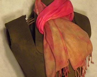 Hand dyed Rayon Scarf with Fringe