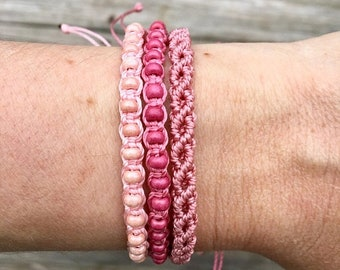 SALE Micro-Macrame Adjustable Bracelet Stack - Pink Beaded Mix