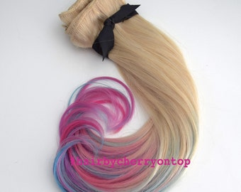 Lightest Ash Blonde Clip-in Hair Extensions - Pink, Blue, Purple Unicorn Hair!