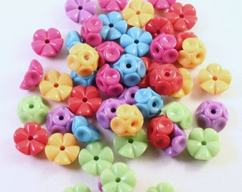 Colorful Acrylic Bead Mix, Opaque Multicolored, 6x12mm Interlocking Rounds, Wholesale Loose Beads, Kids Crafts