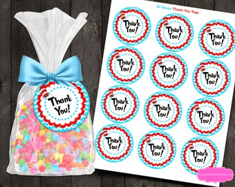 Dr Seuss Favor Tags - Dr Seuss Thank-You Tags - Dr Seuss Party - Dr Seuss Birthday - Dr Seuss Favor Tag - Cat in the Hat - Thank You Tags