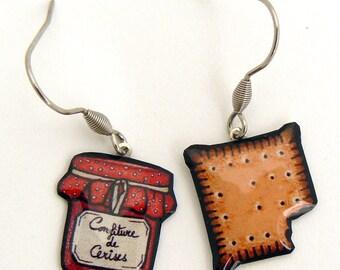 Cherry jam and cake earrings