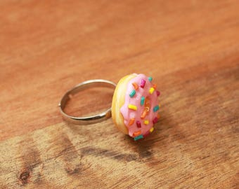 Pink Donut Ring With Sprinkles - Food Jewelry, Food Ring, Donut Jewelry, Miniature Food