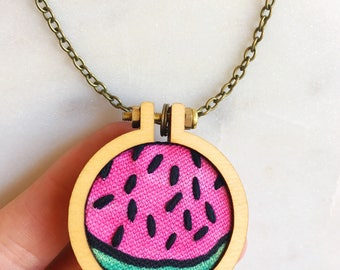 Watermelon Embroidery Hoop Necklace Watermelon Pendant Embroidered Necklace Embroidered Pendant Gift for Her