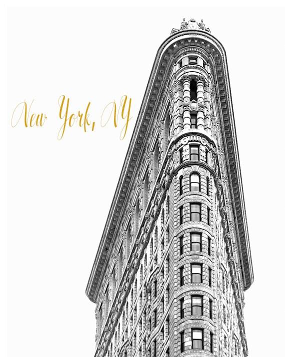 Art, Photography, New York Architecture, NYC, Flatiron, Black & White, New York City  Decor, City Print, Black, White, Gold Tone Lettering
