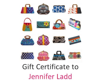 60 dollar gift certificate to Jennifer Ladd's shop, Digital gift voucher, E gift card, Printable gift certificate, Purses and bags, Handmade