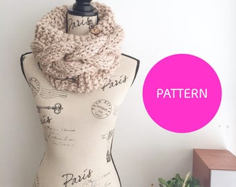 KNIT PATTERN, Braided Bae Cowl knit pattern, knitting cowl pattern, cabled cowl pattern, cabled cowl, knit cowl pattern, chunky cowl pattern