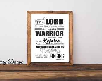 Printable, Bible Verse, Scripture art, Wall art, Wall decor, Scripture printable, diy, Zephaniah 3:17,  INSTANT DOWNLOAD