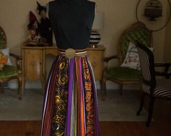 Vintage Gown - Maxi Evening 60s 70s Mod High Neck