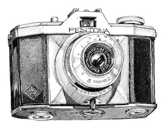 Pentona Vintage Camera Illustration A3 Print