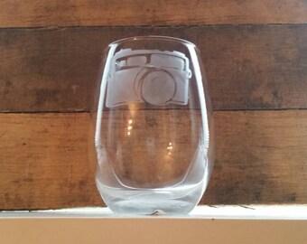Camera stemless wine glass/ photographer gift/ photography wine glass