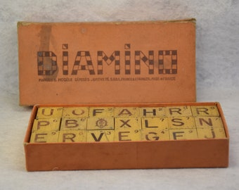 Vintage Diamino, french set of letters in wood, 30s