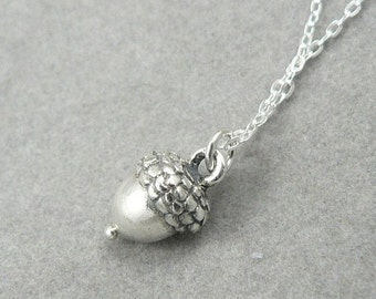 Acorn solid sterling silver tiny charm pendant necklace grad gift graduate inspirational for grads