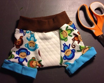 Little Acorn Designs 1 pair of potty learning boxer style undies, cloth training pants of reclaimed t-shirts with zorb soaker area.