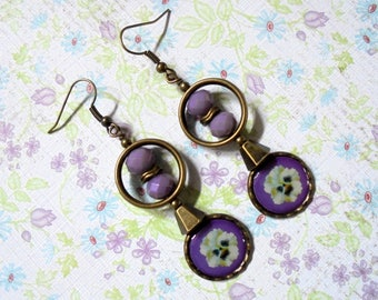 Lavender, Ivory and Brass Boho Pansy Earrings (3647)
