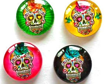 Magnets - Sugar Skulls - Day of the Dead - Skull - Set of 4 - Free U.S. Shipping - 1 Inch Domed Glass Circles