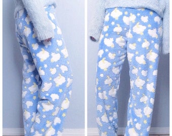 Blue Pajama Pants with Clouds, Stars and Moon