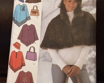 Simplicity #4785 - Misses' Capelet in 2 Lengths, Poncho, Hat, and Bag - Hat in 3 S-M-L - Capes Size AA (XS,S,M)