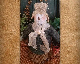 Not So ScaryCrow - Prim Scarecrow - Primitive Folk Art - Fall decor - autumn - As the Crow Flies - Free shipping