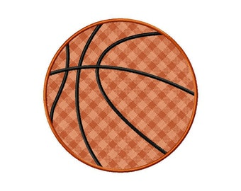 Applique Basketball Machine Embroidery Design - 5 Sizes