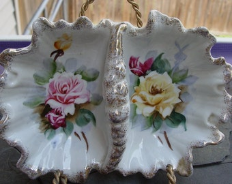 Vintage Porcelain Floral Two Sided or Divided Candy or Jewelry Dish with Roses