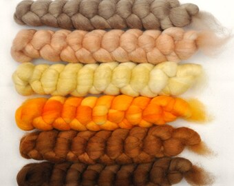 Hand painted roving -  Blue Faced Leicester (BFL) wool spinning fiber - 6.4 ounces - Rough Trail