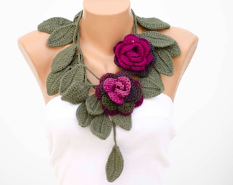 Crochet flower scarf with 2 removable crochet flower brooches , crochet necklace scarf