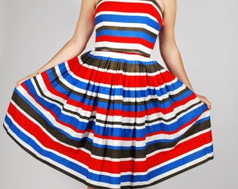 1950's Striped Sundress - 50's Cotton Summer Dress - Red White & Blue Dress - Size Small