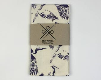 Tea Towel Reiger (Heron) Purple