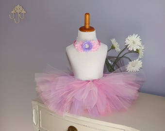 Pink and lavender tutu with headband
