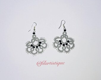 Earrings tatting lace, Victorian Gothic grey silver and black.