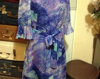 Divine vintage chiffon dress bold purple blue swirls fully lined size 16 1/2 elbow length sleeve