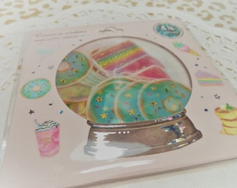 48 Pc. Sugary Sweets tracing paper Pastel Sticker flakes For Snail mail, cards, gifts, planners, photos, cell phones, scrapbooking, Resin.