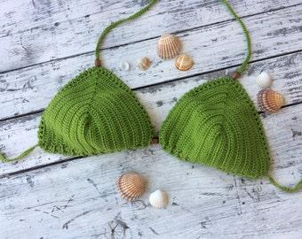 Crochet bikini  Crochet swimsuit Green crochet bikini Triangle bikini