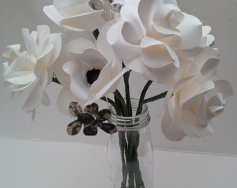 Medium paper anemone and roses. Elegant bridal bouquet. White rose, white and black Anemone