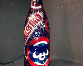 Chicago Cubs Lighted Wine Bottle