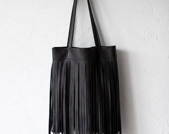 Black Leather Bag With Fringe Leather, black leather tote, fringe bag, boho bag, school bag, macbook case, soft leather bag