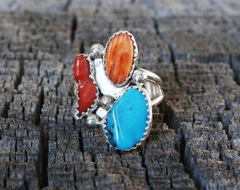 native american jewelry,turquoise ring,native american,turquoise rings,turquoise,navajo jewelry,Navajo Coral, Spiny Oyster, & Turquoise Ring