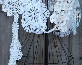 Ladies Shabby Chic Vintage Doily Scarf - One Size