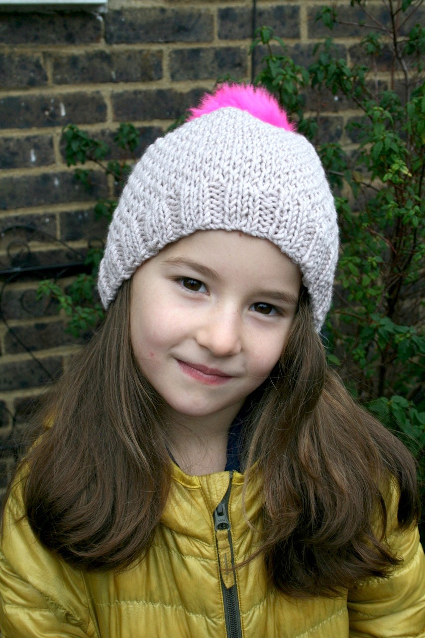 KNITTING PATTERN, Pink pom pom slouchy hat knitting pattern 10 ...