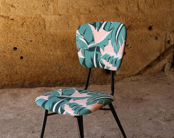 Fully restored vintage patterns fabric Palm Nobilis Palmtree outdoor Chair