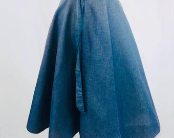 Denim Wrap Circle Skirt with Pockets